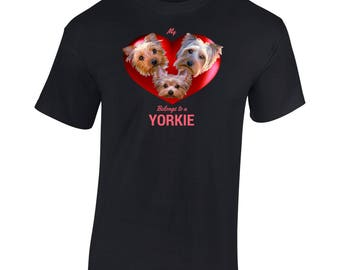 Yorkshire Terriers in a Heart Design T shirt - Cute Yorkies in a Rich Red Heart, inc. Yorkie puppy. My Heart Belongs to a Yorkie