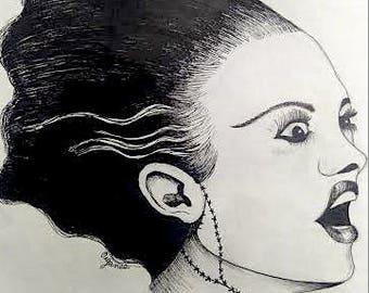 Original Micropen Artwork Bride of Frankenstein
