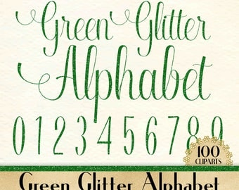 """100 Green Glitter Alphabet Cliparts in 12"""" x 12"""" Separate, 300 Dpi Instant Download, Commercial Use, 100 Transparent Number"""