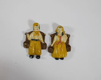 Vintage 1940's Dutch Holland Boy And Girl Chalkware Chalk Ware Wall Hanging