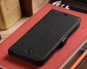 Apple iPhone X / iPhone 10 Genuine Leather Side Flip Phone Wallet Flip Case in Black Pebble Grain Genuine Leather
