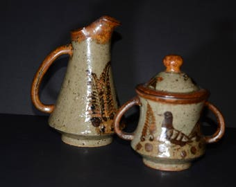 Wonderful Pottery, Big Creamer and Sugar Jar, featuring animals, nature, wildlife, bird, deer, creamer with large spout, glaze, piece of art