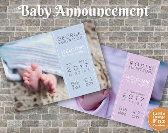 Baby Announcement Card | Personalised Birth Announcement Print | Baby Boy | Baby Girl (Digital)