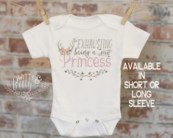 It's Exhausting Being a Boho Princess Onesie®, Unique Baby Onesie, Cute Baby Bodysuit, Cute Onesie, Boho Baby Onesie, Girl Onesie - 176E