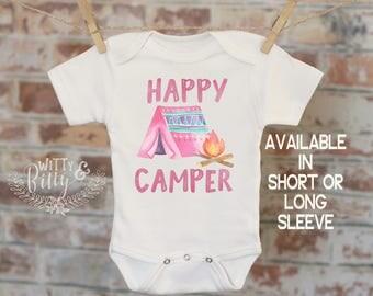 Happy Camper Onesie®, Campfire Onesie, Bohemian Onesie, Woodland Style Onesie, Cute Onesie, Boho Baby Onesie, Girl Onesie - 208H
