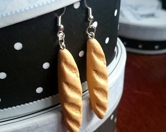 Bread Fimo polymer clay earrings