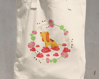 2018 Year Of The Dog Happy Chinese New Year Cotton Tote Bag