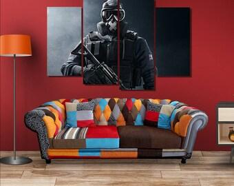 Regenbogen Sechs Belagerung Soldaten Poster Leinwand Wand Kunst Dekor Gerahmte Home Dekoration Grossen
