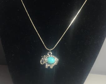 Turquoise/Silver Elephant Necklace