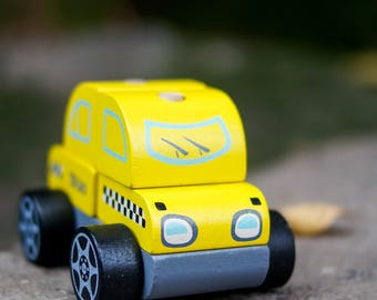 Toy taxi / taxi car / yellow car / toy taxi / yellow taxi / baby gift / educational toy / eco toy / wooden diy toy / baby gift