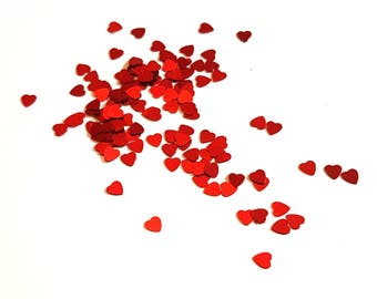 Red Heart Confetti. Red Scatter Sequins. Heart Confetti. Party Supplies. Scrapbooking Supplies. Card Making Embellishments.
