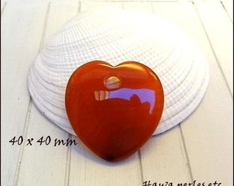 "1 large natural Agate 40 x 40 mm Orange red color ""heart"" pendant"