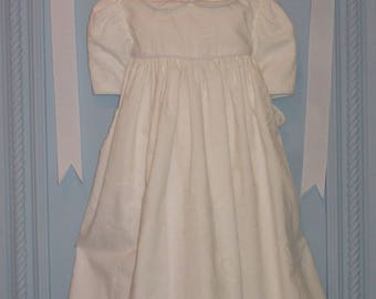 Cotton Baby Girl Dress. 4 to 6 Months. Paisley White on White 100% Cotton