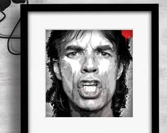 Print / Mick Jagger / Art / Music / Graphic design / Design / Prints / Contemporary / Wall art / Cool / Icons / Gift
