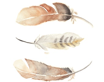 Feathers Watercolor PRINT - Feathers, Watercolor, Birds, Boho Wall Art, Vertical Wall Decor, Feathers Painting,