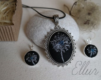 Embroidered jewelry set Dandelion in pendant White black jewelry set Hand embroidery necklace earring Floral pendant Flower wife jewelry Eco