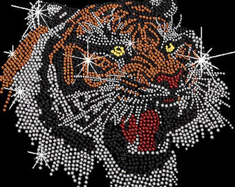 Rhinestone Tiger Head