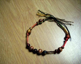 """Braided bracelet """"reggae"""" - red, yellow, green and brown"""