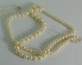 "Freshwater pearl round shape -  4-6-8mm - 15""in long strand"