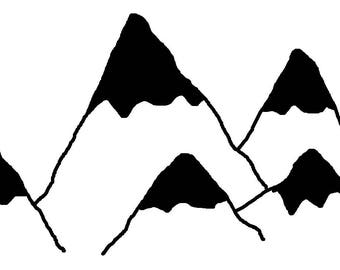 Mountains Vector, mountain png file, clip art, doodle, hand drawn hills, adventure awaits artwork