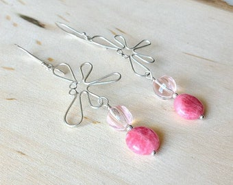 Pink Earrings, Butterfly Earrings, Sterling Silver Earrings, Glass Earrings, Rhodonite Earrings, Carved Beads Earrings,Gift for Her