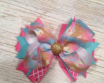 Unicorn hair bow, unicorn hairbow, unicorn hair clip, pink hair bow, aqua hair bow, gold hair bow, unicorn birthday, pink hairbow