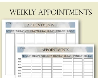 Weekly Appointments, Client Appointments, Salon Appointments, Salon Clients Schedule, Salon Appointments Book, Salon Bookings