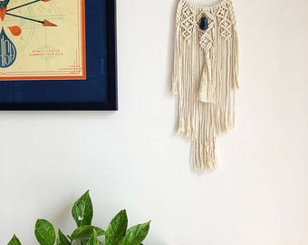 Macrame Wall Hanging Dreamcatcher with Blue Sodalite Crystal Pendant, Medium Woven Wall Hanging, Boho Hippie Tapestry, Dream Catcher