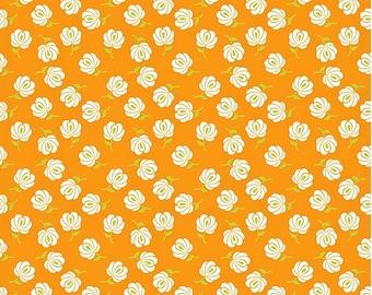 Yellow Flower Fabric, Fabric by the Yard 100% Cotton Fabric Floral Fabric Cotton Fabric Quilting Fabric Apparel Fabric Riley Blake Fabric