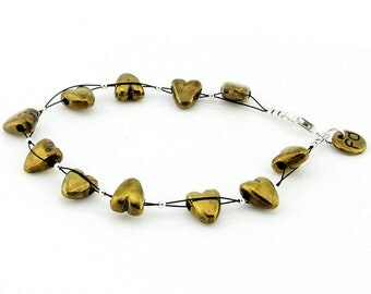 Bronze Heart Bracelet Sterling Silver Metal Puffed Hearts