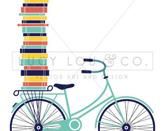 Vintage Bicycle Art Print with Stacked Books