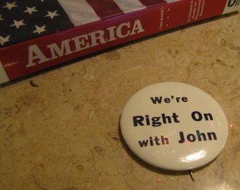 Vintage Political Campaign Button circa 1960s Seattle Locally Made John F Kennedy Original Vintage