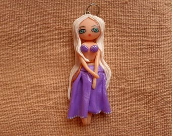 Kawaii Beach Jewelry, Kawaii Purple Jewelry, Kawaii Hula Girl, Cute Hula Girl, Kawaii Doll Necklace, Kawaii Doll Pendant, Cute Doll Pendant