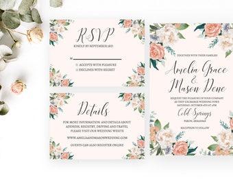 Amelia Wedding Invitation   Wedding Stationery   Printable   Beautiful Pastel Spring Invite   Digital PDF