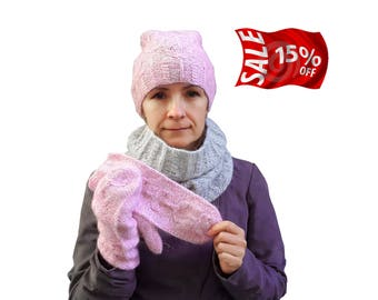 Knitted set Hat, scarf and mittens Women hat, snood and mittens warm and soft Hat, infinity scarf, gloves Knitted winter set Knit alpaca set