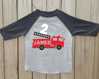 Fire truck birthday shirt, birthday shirt, personalized birthday shirt, toddler raglan, fire truck party outfit, fire truck birthday