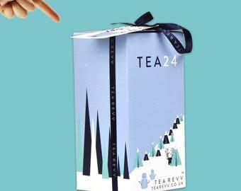 Advent Calendar 24 Different Tea Blends Selection Christmas Kit. Loose Leaf Gift. Taster Box. Whole Leaf Blends. Add a Tea Infuser.