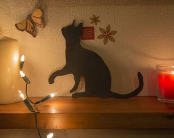 Cat Silhouette & Butterfly Decoration.