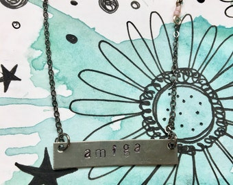 Hand metal stamped amiga/friendship bar necklaces by Sun Valley Dandelion - perfect Valentines gift