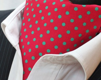 Cravat Ascot UK Made. Red with Green Polka Dot. Cravat & Hanky.Premium Cotton.