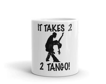 It Takes 2 2 Tango Spartees distressed white Mug