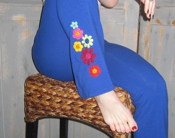 Gypsy Pants, Bohemian, Flare Leg, Embellished, Embroidered, Decorated, Crocheted Appliques