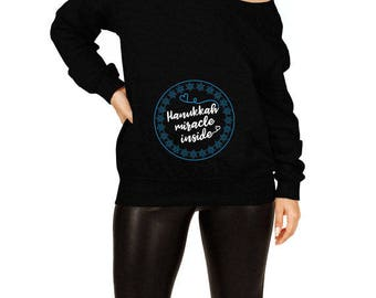 Pregnancy Gifts For Hanukkah Sweater Expecting Announcement Maternity Outfit Chanukah Holiday Off The Shoulder Slouchy Sweatshirt TEP-515