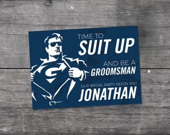 SUIT UP Groomsmen Cards Superhero Card Personalized Funny Cool Best Man Proposal Invitation