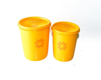 Tupperware 809-11 and 811-14 Nesting Canisters Orange Yellow