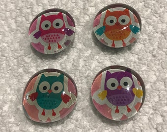 Owl Glass Magnets..Set of 4...