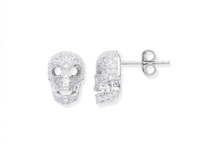 925 Sterling Silver & Micro Pave Cz Skull Stud Earrings