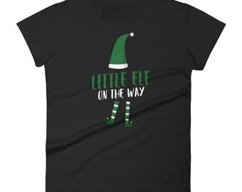 Little Elf on the Way Tshirt for Pregnant Women Short Sleeve T-shirt