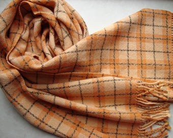 Hand woven plaid scarf merino/ cashmere Orange womens woolen soft woven scarf Handwoven warm ladies scarf  fringes Women wool scarf handmade
