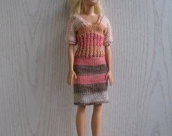 Melange dress for Barbie knitted handmade, Barbie fashion clothing